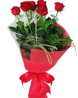 5 adet kırmızı gülden buket  Antalya Melisa kaliteli taze ve ucuz çiçekler
