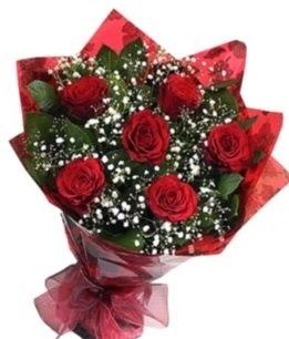 6 adet kırmızı gülden buket  Antalya Melisa yurtiçi ve yurtdışı çiçek siparişi