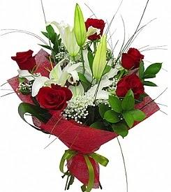 1 dal kazablanka 5 kırmızı gül buketi  Antalya Melisa kaliteli taze ve ucuz çiçekler