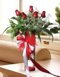 Camda 5 kırmızı gül tanzimi  Antalya Melisa çiçekçi telefonları