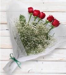5 kırmızı gülden sade buket  Antalya Melisa çiçek yolla