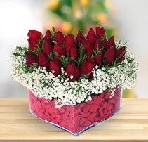 15 kırmızı gülden kalp mika çiçeği  Antalya Melisa çiçek satışı