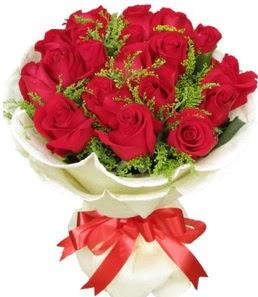 19 adet kırmızı gülden buket tanzimi  Antalya Melisa çiçek servisi , çiçekçi adresleri