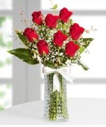 7 Adet vazoda kırmızı gül sevgiliye özel  Antalya Melisa çiçek siparişi sitesi