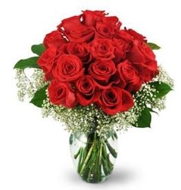 25 adet kırmızı gül cam vazoda  Antalya Melisa çiçek , çiçekçi , çiçekçilik