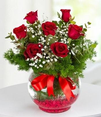 fanus Vazoda 7 Gül  Antalya Melisa çiçek , çiçekçi , çiçekçilik
