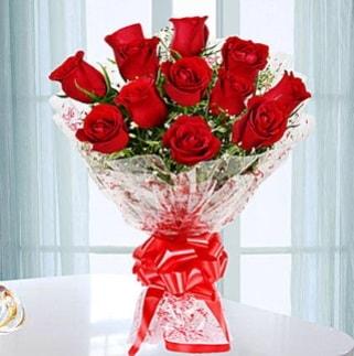 11 adet kırmızı gülden görsel şık buket  Antalya Melisa ucuz çiçek gönder