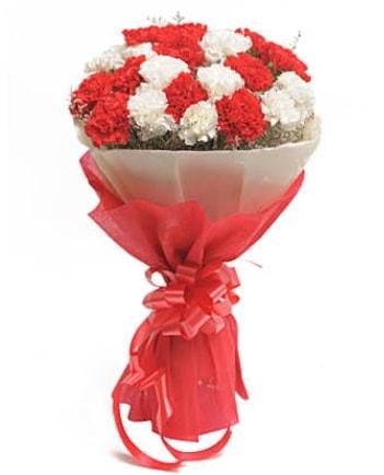 21 adet kırmızı beyaz karanfil buketi  Antalya Melisa çiçek satışı