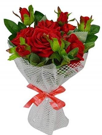 9 adet kırmızı gülden sade şık buket  Antalya Melisa çiçekçi telefonları