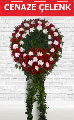 Kırmızı Beyaz Çelenk Cenaze çiçeği  Antalya Melisa Melisa İnternetten çiçek siparişi