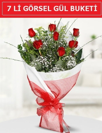 7 adet kırmızı gül buketi Aşk budur  Antalya Melisa çiçek satışı