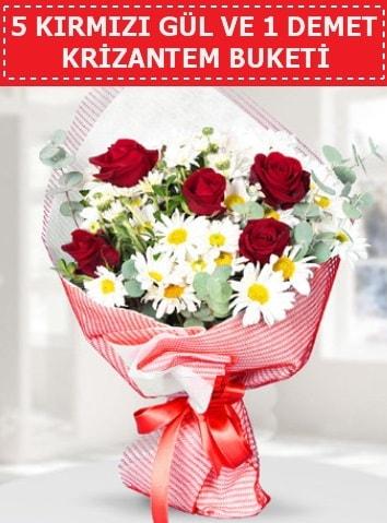 5 adet kırmızı gül ve krizantem buketi  Antalya Melisa çiçek satışı