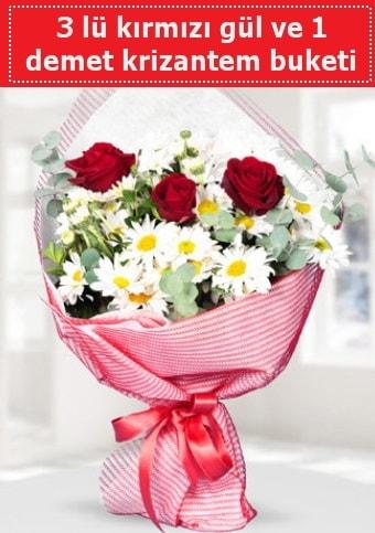 3 adet kırmızı gül ve krizantem buketi  Antalya Melisa çiçek gönderme sitemiz güvenlidir