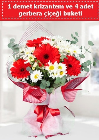 Krizantem ve Gerbera Buketi  Antalya Melisa çiçek siparişi sitesi