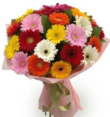 Karışık büyük boy gerbera çiçek buketi  Antalya Melisa çiçek satışı