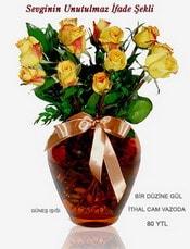 Antalya Melisa internetten çiçek satışı  mika yada Cam vazoda 12 adet sari gül